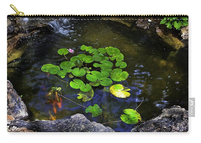 Goldfish Carry-all Pouch featuring the photograph Goldfish With Lily Pads by Madeline Ellis
