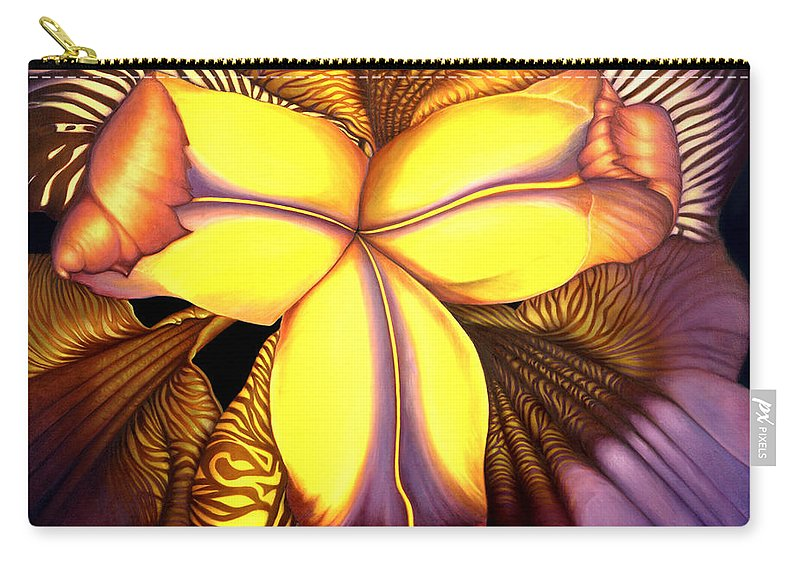 Flower Print Carry-all Pouch featuring the painting Goldie's Iris by Anni Adkins