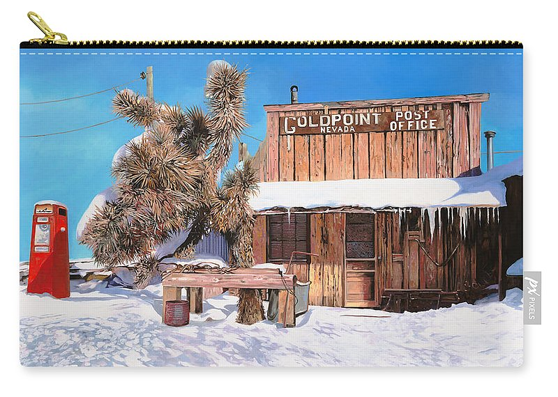 Gold Carry-all Pouch featuring the painting Goldpoint-nevada by Guido Borelli