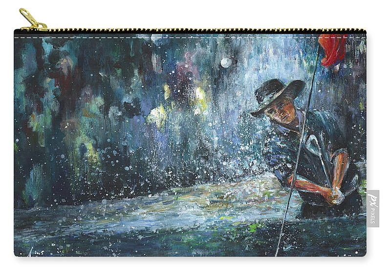 Golf Carry-all Pouch featuring the painting Golf Delirium Nocturnum 01 by Miki De Goodaboom