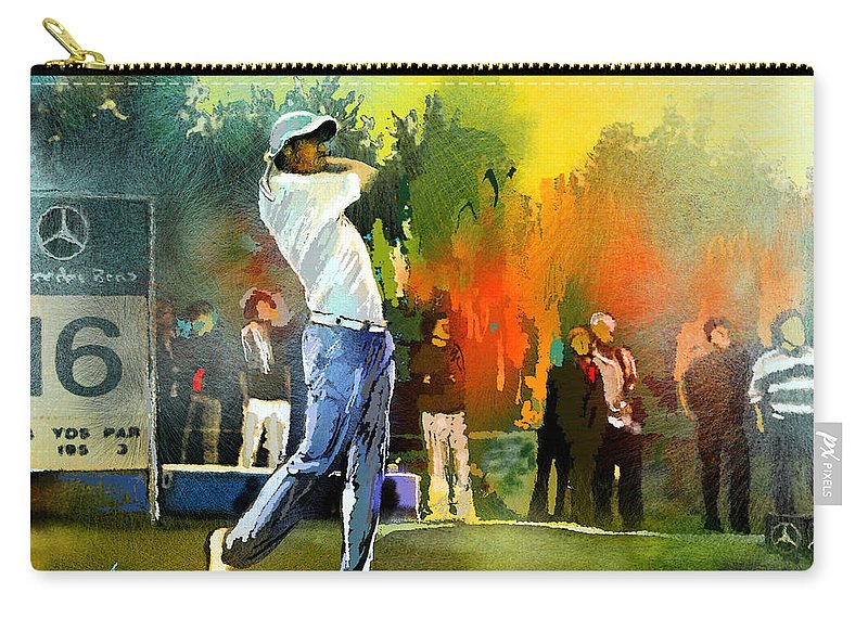 Golf Carry-all Pouch featuring the painting Golf In Gut Laerchehof Germany 01 by Miki De Goodaboom
