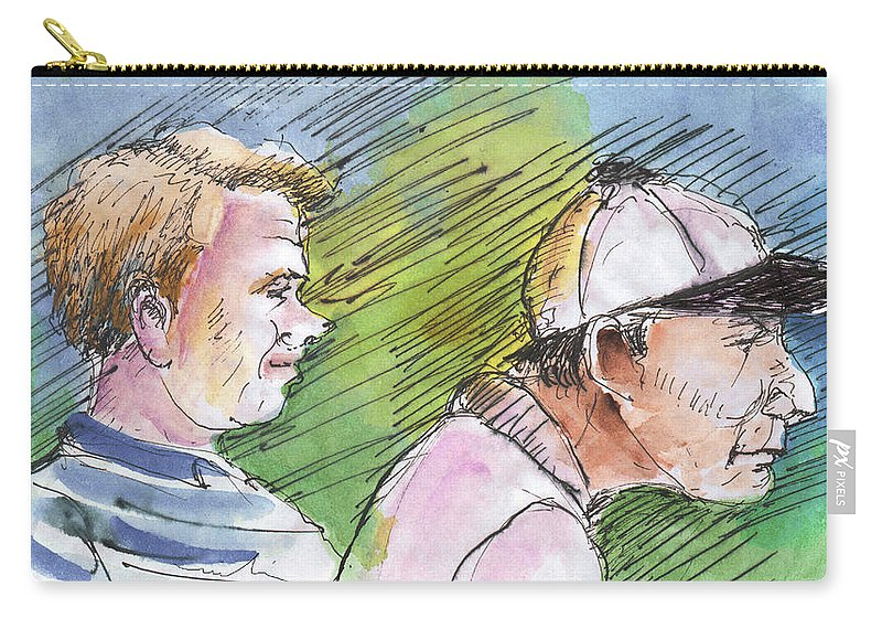Portraits Carry-all Pouch featuring the painting Golfers In Soufflenheim 01 by Miki De Goodaboom