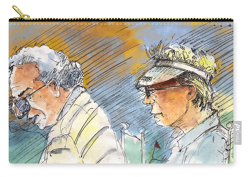 Portraits Carry-all Pouch featuring the painting Golfers In Soufflenheim 02 by Miki De Goodaboom