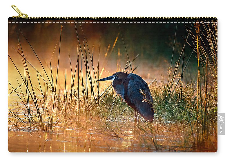 Heron Carry-all Pouch featuring the photograph Goliath Heron With Sunrise Over Misty River by Johan Swanepoel