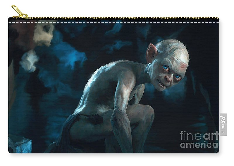 Gollum Carry-all Pouch featuring the painting Gollum by Paul Tagliamonte