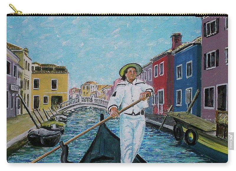 Gondolier Canal Venice Buiildings Carry-all Pouch featuring the painting Gondolier At Venice Italy by Frank Hunter