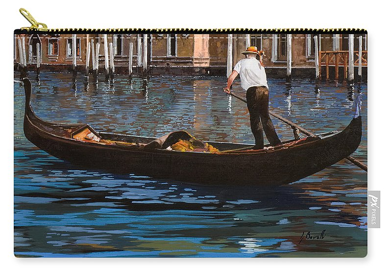 Venice Carry-all Pouch featuring the painting Gondoliere Sul Canale by Guido Borelli