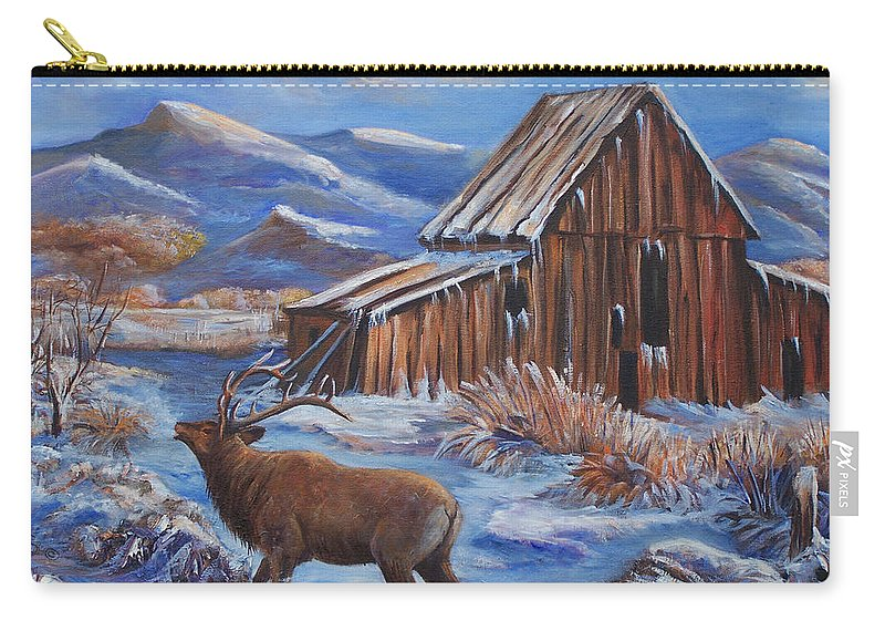 Elk Carry-all Pouch featuring the painting Good Morning Elk by Sue Stake