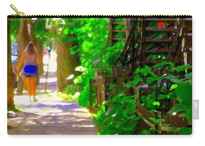 Montreal Carry-all Pouch featuring the painting Goodbye Walking Away New Friends New Places To Visit Streets Of Verdun Montreal Art Scenes C Spandau by Carole Spandau