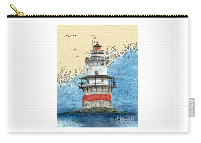 Goose Carry-all Pouch featuring the painting Goose Rocks Lighthouse Me Nautical Chart Peek Art by Cathy Peek
