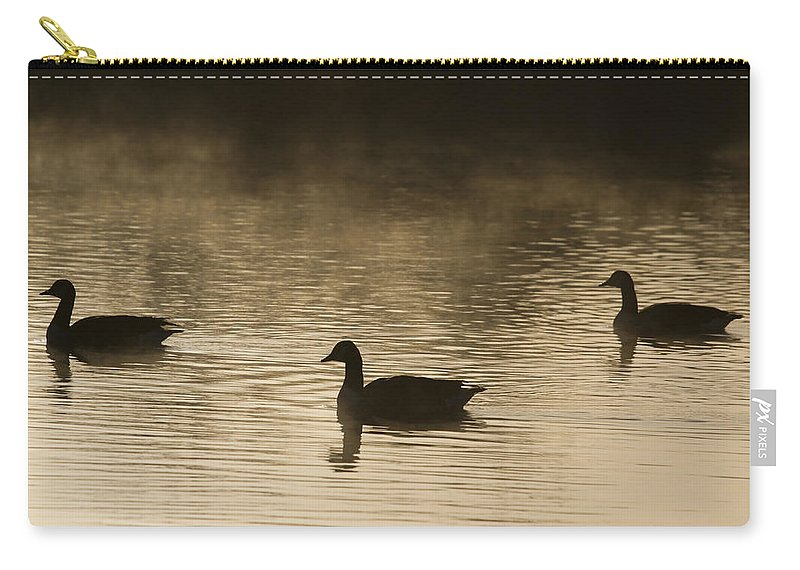 Silhouette Carry-all Pouch featuring the photograph Goose Silhouette by Chris Smith