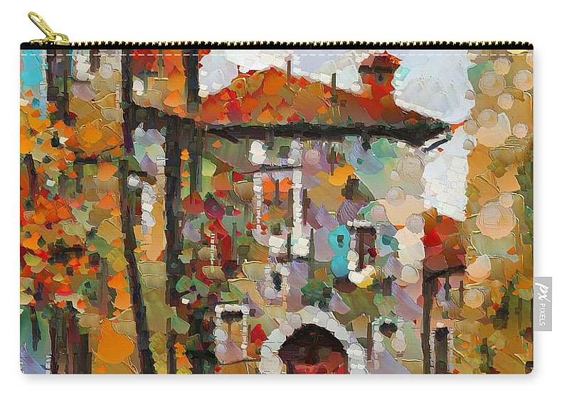 Landscapes Carry-all Pouch featuring the painting Gordes- Colorful Street by Dragica Micki Fortuna