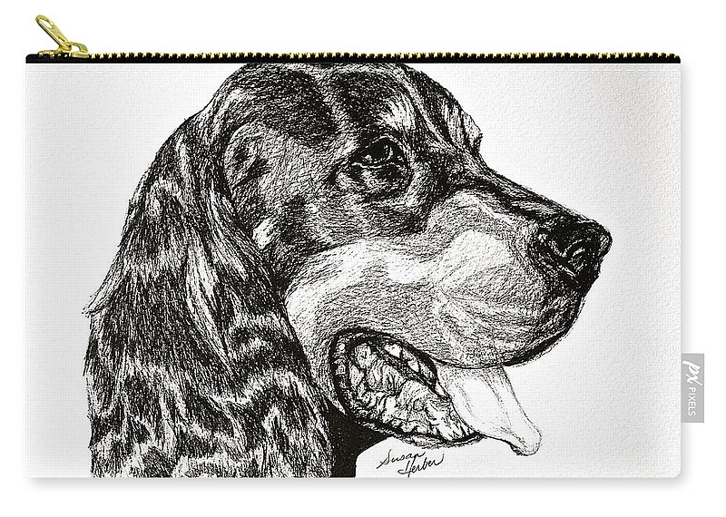 Dog Carry-all Pouch featuring the drawing Gordon Setter by Susan Herber