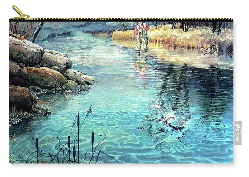 Fly Fishing Carry-all Pouch featuring the painting Gotcha by Hanne Lore Koehler
