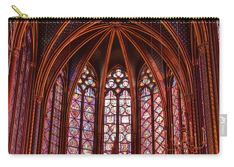 Gothic Style Carry-all Pouch featuring the photograph Gothic Architecture Inside Sainte by Julian Elliott Photography