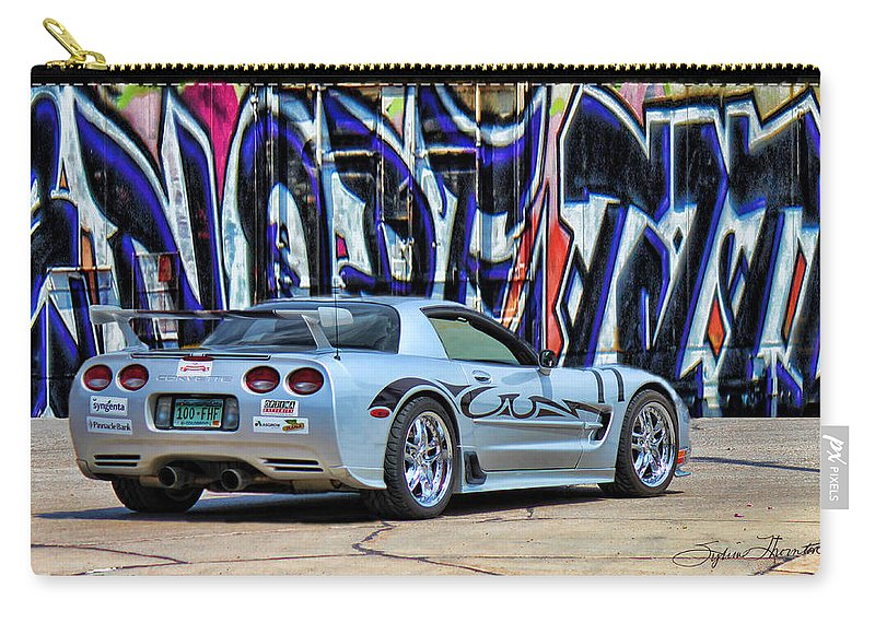 Silver Corvette Carry-all Pouch featuring the photograph Graff Vette by Sylvia Thornton
