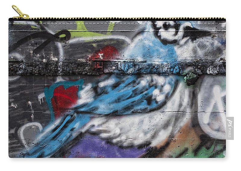 Graffiti Carry-all Pouch featuring the photograph Graffiti Bluejay by Carol Leigh
