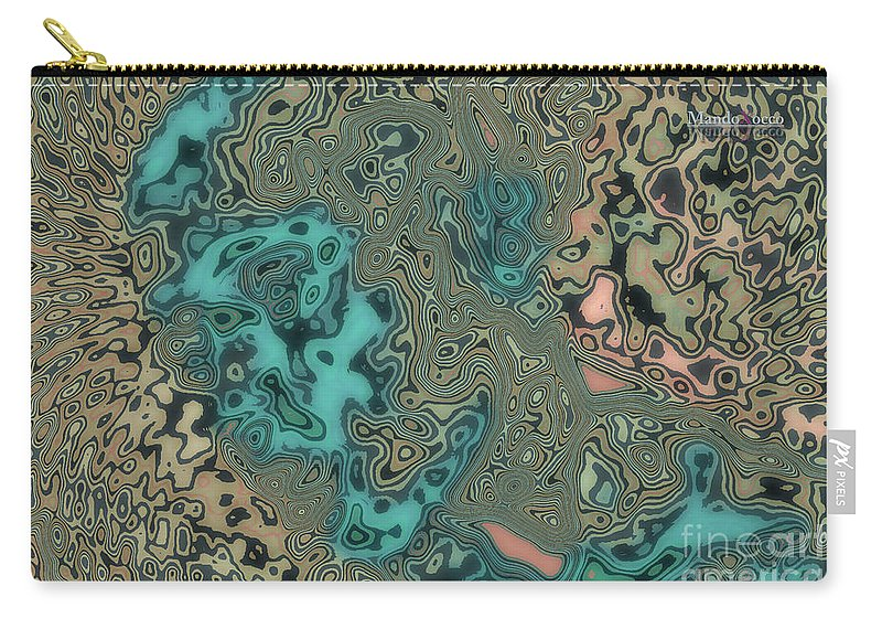 Desing Carry-all Pouch featuring the mixed media Graffiti Line by Mando Xocco