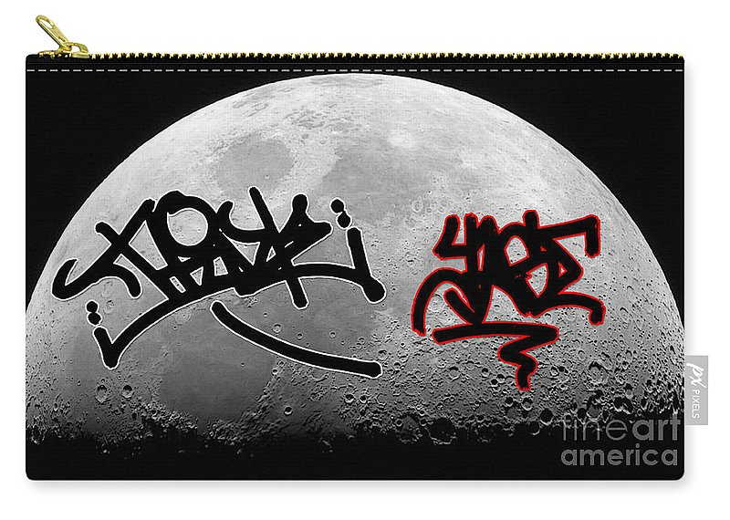 Moon Art Carry-all Pouch featuring the mixed media Graffiti On The Moon by Marvin Blaine