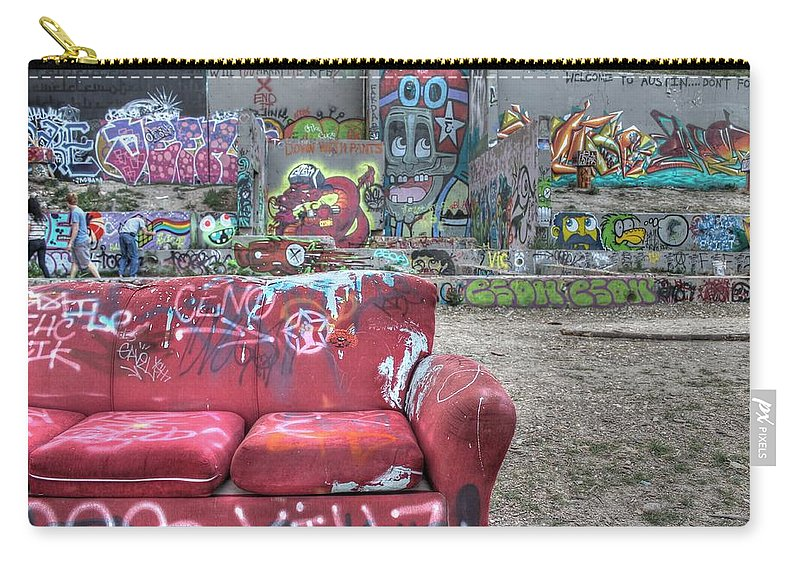 Grafitti Carry-all Pouch featuring the photograph Grafitti Couch by Jane Linders