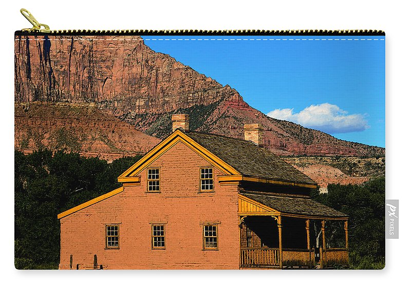Russell Home 1866 Carry-all Pouch featuring the painting Grafton Utah 1866 by David Lee Thompson