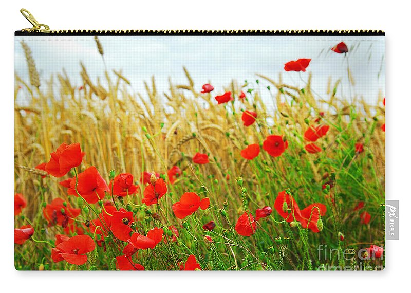 Poppy Carry-all Pouch featuring the photograph Grain And Poppy Field by Elena Elisseeva