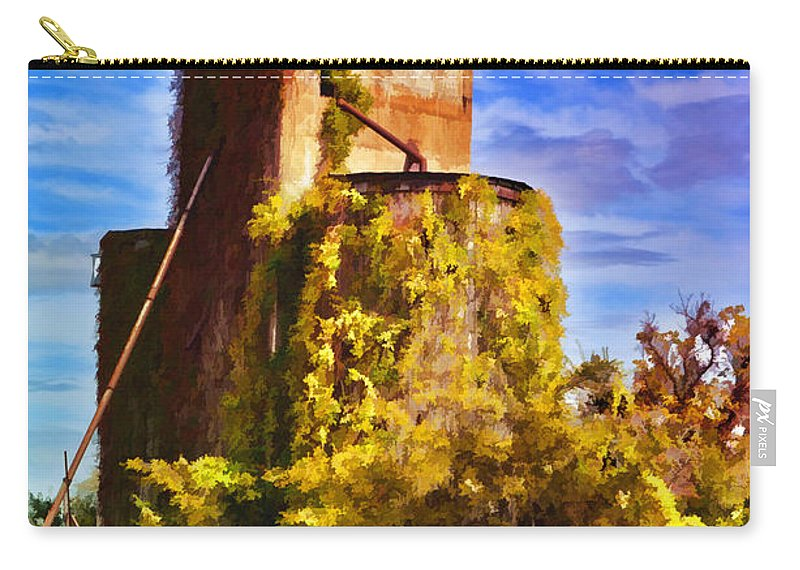 Architecture Carry-all Pouch featuring the photograph Grain Silos With Digital Painted Effect by Debbie Portwood
