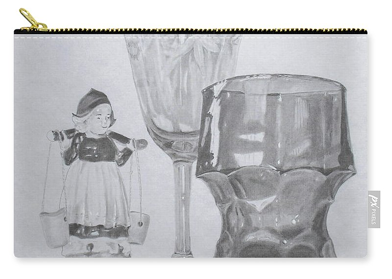 Glassware Carry-all Pouch featuring the drawing Grammas Glasses by Mary Ellen Mueller Legault
