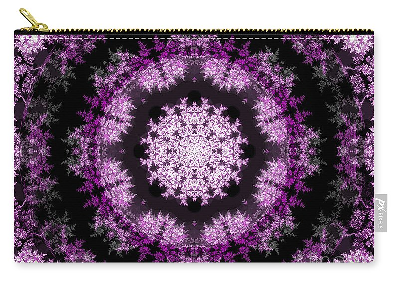 Fractal Art Carry-all Pouch featuring the digital art Grammy's Psychedelic Doily by Elizabeth McTaggart