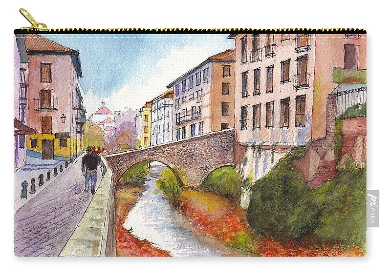 Spain Carry-all Pouch featuring the painting Granada Bridge Spain by Dai Wynn
