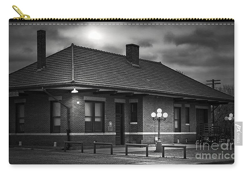 Rail Carry-all Pouch featuring the photograph Train Depot At Night - Noir by Robert Frederick