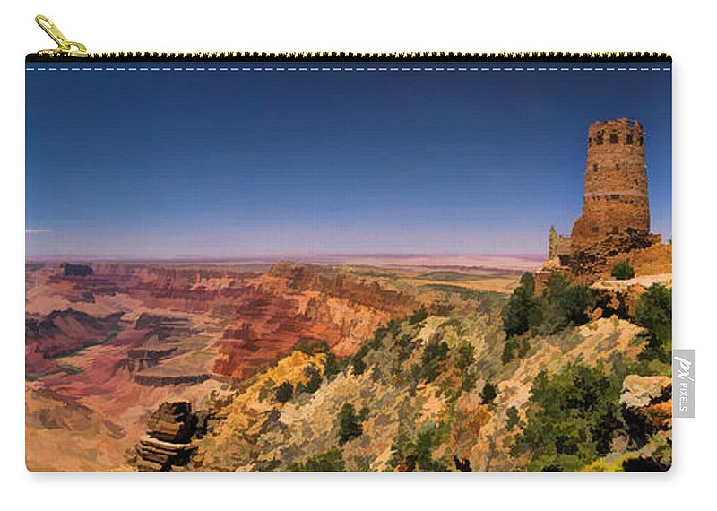 Grand Canyon Carry-all Pouch featuring the painting Grand Canyon Desert View Watchtower Panorama by Christopher Arndt