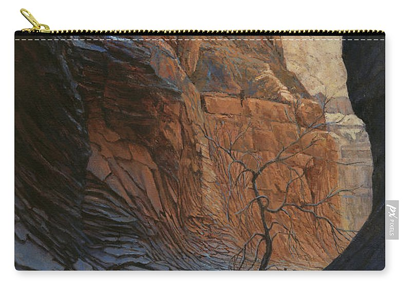 Don Langeneckert Carry-all Pouch featuring the painting Arizona Hike Into Canyon by Don Langeneckert