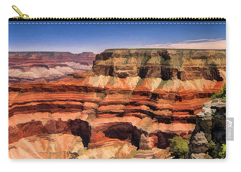 Grand Canyon Carry-all Pouch featuring the painting Grand Canyon Mesa Panorama by Christopher Arndt