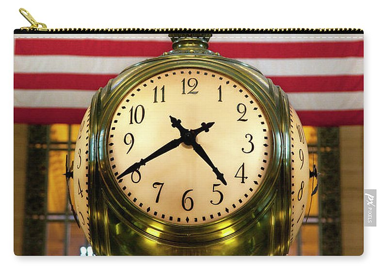 Brass Carry-all Pouch featuring the photograph Grand Central Clock by Brian Jannsen
