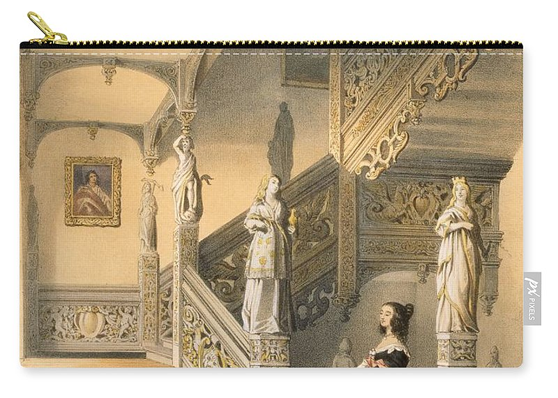 Interior Carry-all Pouch featuring the drawing Grand Elizabethan Staircase by Joseph Nash