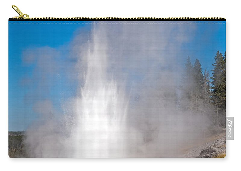 Grand Geyser Carry-all Pouch featuring the photograph Grand Geyser In Upper Geyser Basin In Yellowstone National Park by Fred Stearns