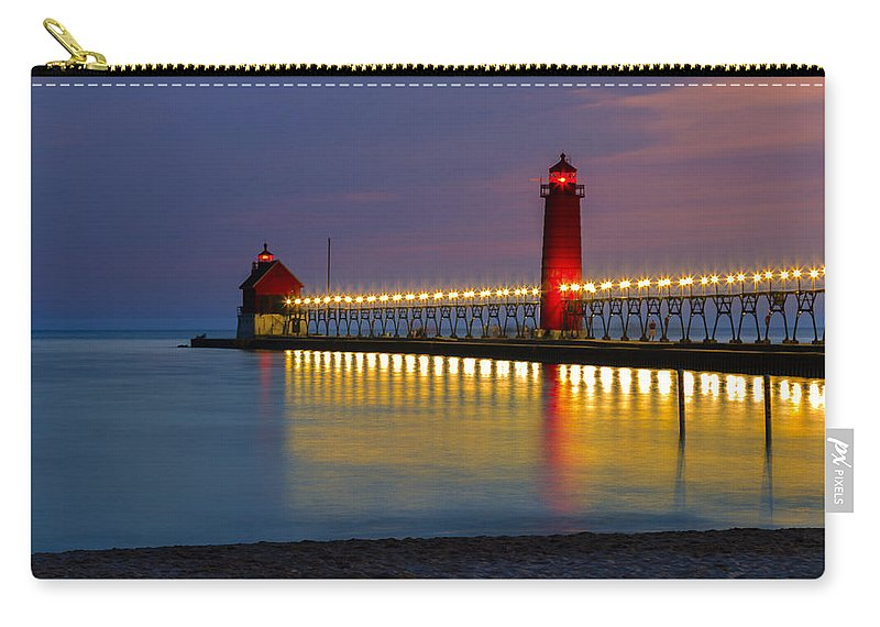 Sunset Grand Carry-all Pouch featuring the photograph Grand Haven South Pier Lighthouse by Jack R Perry
