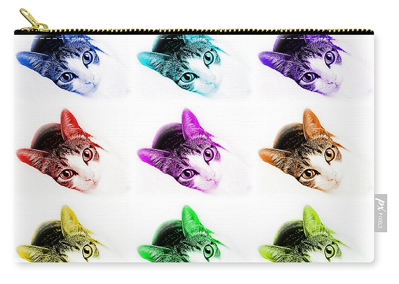 Abstract Carry-all Pouch featuring the photograph Grand Kitty Cuteness 3 Pop Art 9 by Andee Design