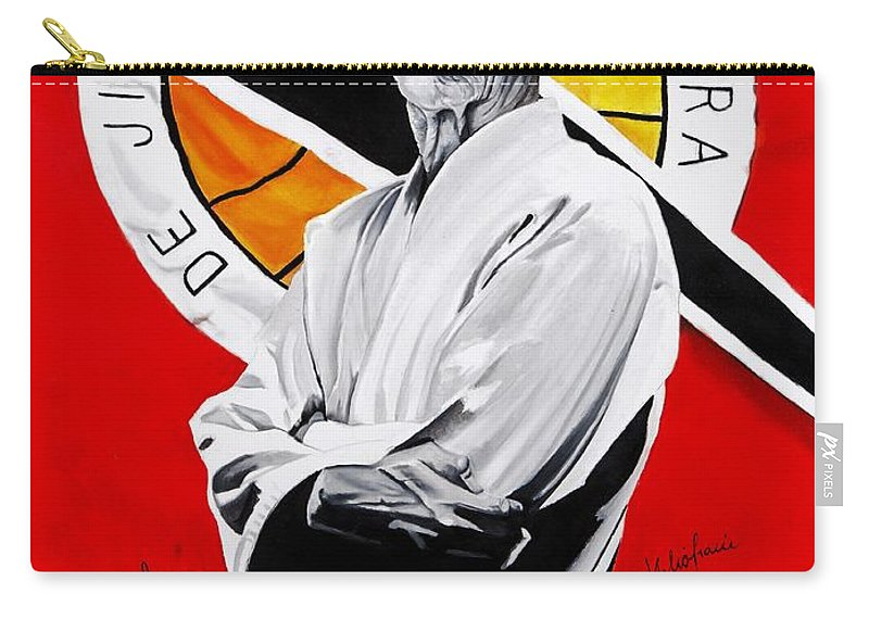Helio Carry-all Pouch featuring the painting Grand Master Helio Gracie by Brian Broadway