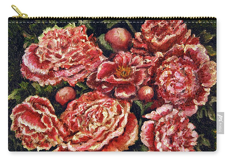 Pink Carry-all Pouch featuring the painting Grandma Lights Peonies by Linda Simon
