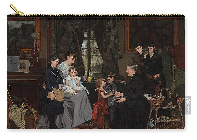 Grandmother Carry-all Pouch featuring the painting Grandmas Birthday by Louis Edmond Pomey
