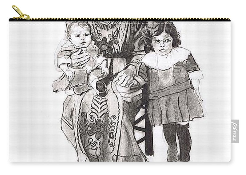 Sicily;italy;america;ellis Island;mother;daughter;family;siblings;grandmother;family;child;children;baby;eyes;concern;dress;clothing;seated Carry-all Pouch featuring the drawing Grandma's Family by Sean Connolly