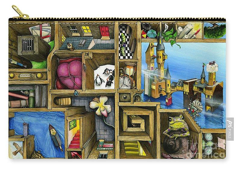 Bizarre Carry-all Pouch featuring the digital art Grandma's Treasure by Colin Thompson