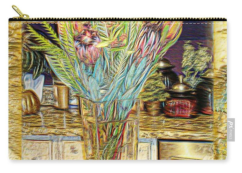 Flowers Carry-all Pouch featuring the photograph Granite Bouquet Vangogh Vision by Ellen Cannon