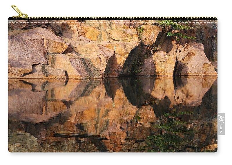 Granite Carry-all Pouch featuring the photograph Granite Cliffs And Reflections In A Quarry Lake by Greg Matchick
