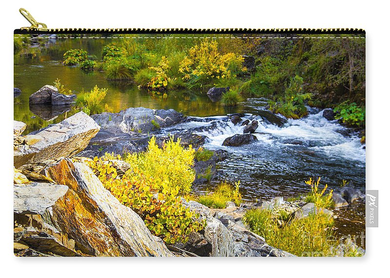 Granite Rocks Carry-all Pouch featuring the photograph Granite Rocks Above The Cascading Feather River, Quincy California by Tirza Roring