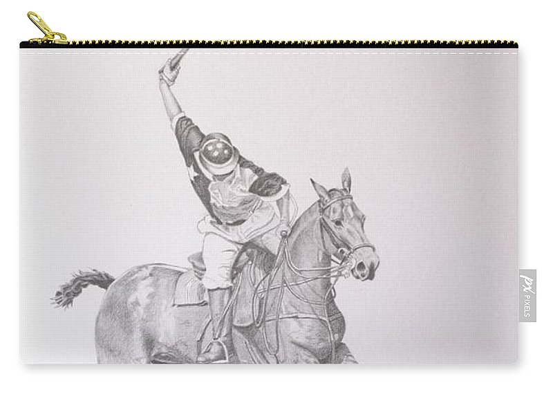 Roena King Carry-all Pouch featuring the drawing Graphite Drawing - Shooting For The Polo Goal by Roena King