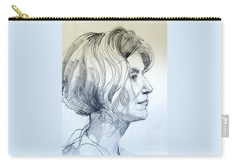 Portrait Carry-all Pouch featuring the drawing Portrait Drawing Of A Woman In Profile by Greta Corens