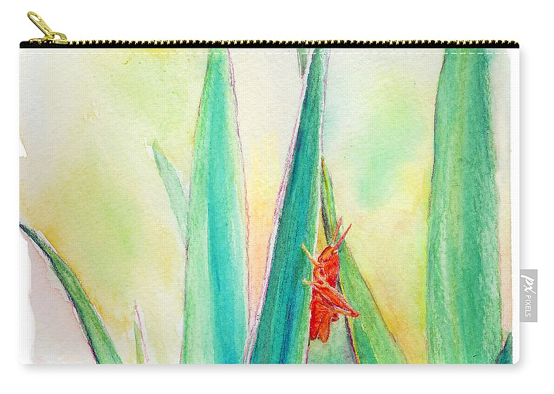 C Sitton Painting Paintings Carry-all Pouch featuring the painting Grasshopper by C Sitton